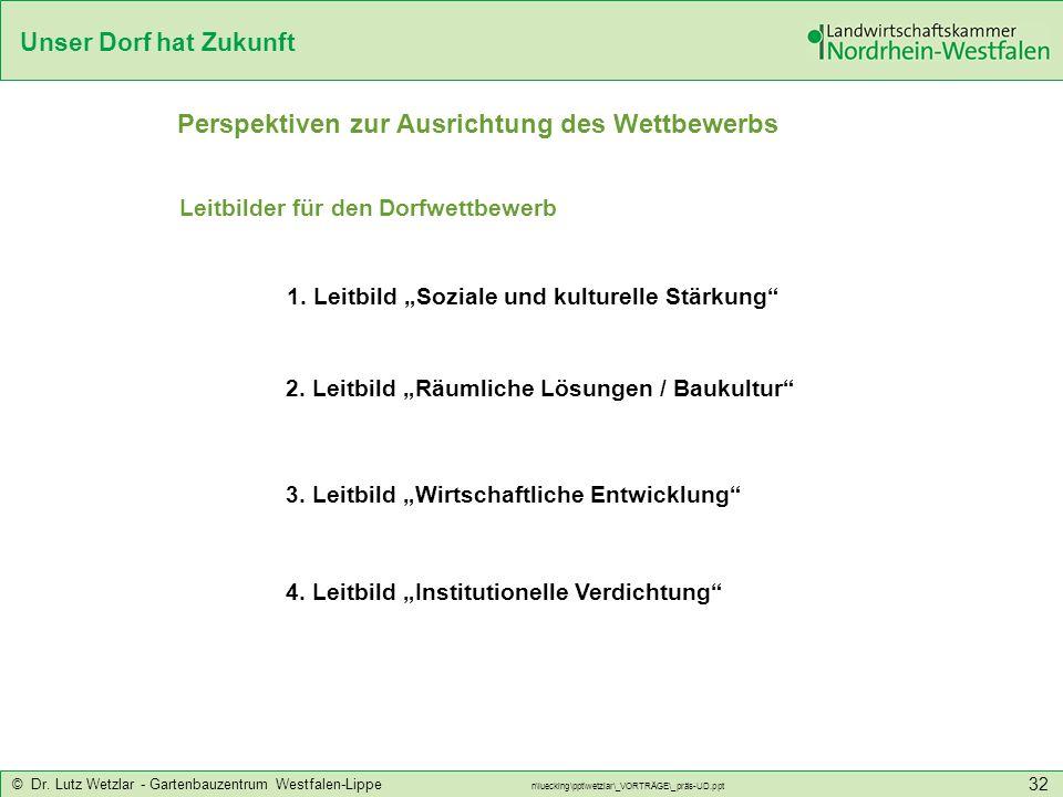 Unser Dorf hat Zukunft © Dr. Lutz Wetzlar - Gartenbauzentrum Westfalen-Lippe n\luecking\ppt\wetzlar\_VORTRÄGE\_präs-UD.ppt 32 Leitbilder für den Dorfw