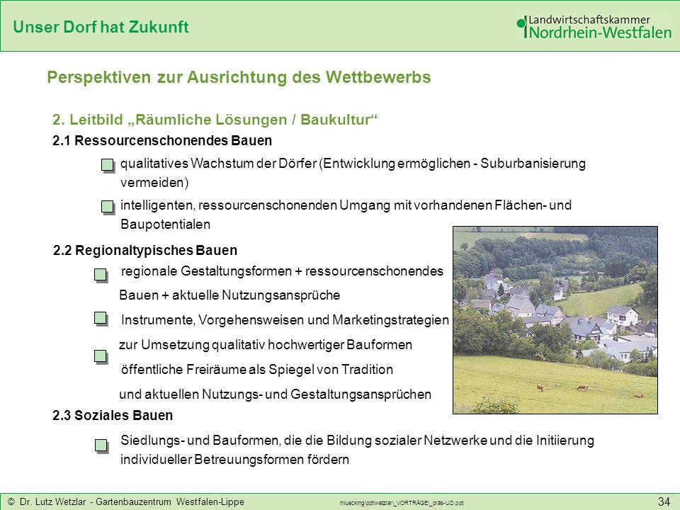 Unser Dorf hat Zukunft © Dr. Lutz Wetzlar - Gartenbauzentrum Westfalen-Lippe n\luecking\ppt\wetzlar\_VORTRÄGE\_präs-UD.ppt 34 2. Leitbild Räumliche Lö