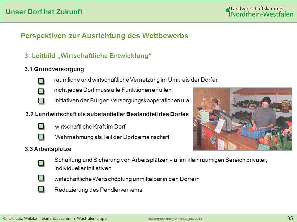 Unser Dorf hat Zukunft © Dr. Lutz Wetzlar - Gartenbauzentrum Westfalen-Lippe n\luecking\ppt\wetzlar\_VORTRÄGE\_präs-UD.ppt 35 Perspektiven zur Ausrich