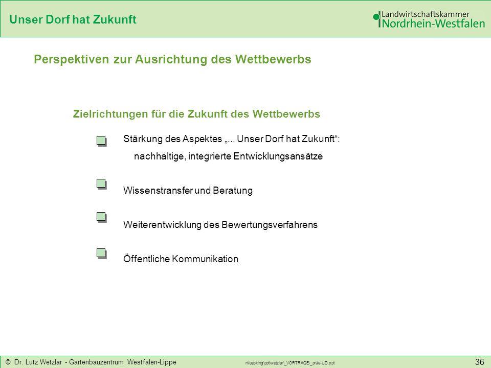 Unser Dorf hat Zukunft © Dr. Lutz Wetzlar - Gartenbauzentrum Westfalen-Lippe n\luecking\ppt\wetzlar\_VORTRÄGE\_präs-UD.ppt 36 Perspektiven zur Ausrich