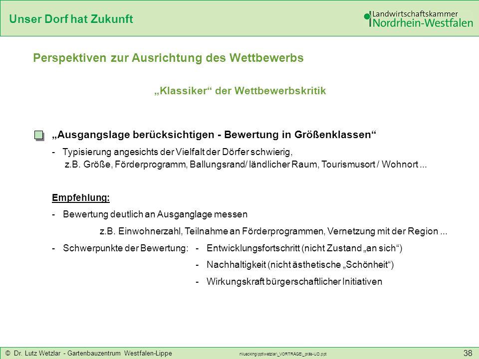 Unser Dorf hat Zukunft © Dr. Lutz Wetzlar - Gartenbauzentrum Westfalen-Lippe n\luecking\ppt\wetzlar\_VORTRÄGE\_präs-UD.ppt 38 Perspektiven zur Ausrich