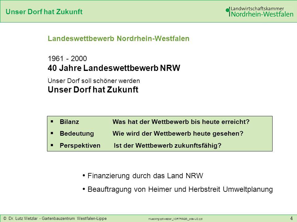 Unser Dorf hat Zukunft © Dr. Lutz Wetzlar - Gartenbauzentrum Westfalen-Lippe n\luecking\ppt\wetzlar\_VORTRÄGE\_präs-UD.ppt 4 Bilanz Was hat der Wettbe
