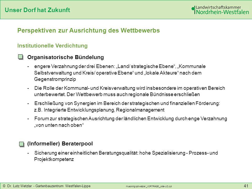 Unser Dorf hat Zukunft © Dr. Lutz Wetzlar - Gartenbauzentrum Westfalen-Lippe n\luecking\ppt\wetzlar\_VORTRÄGE\_präs-UD.ppt 41 Perspektiven zur Ausrich