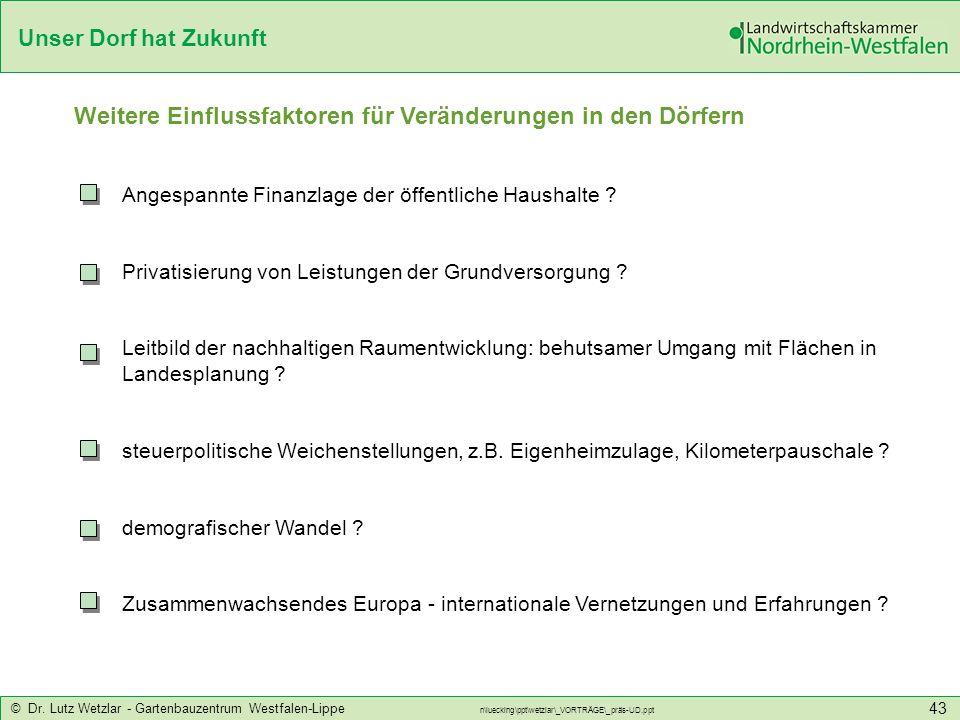 Unser Dorf hat Zukunft © Dr. Lutz Wetzlar - Gartenbauzentrum Westfalen-Lippe n\luecking\ppt\wetzlar\_VORTRÄGE\_präs-UD.ppt 43 Weitere Einflussfaktoren