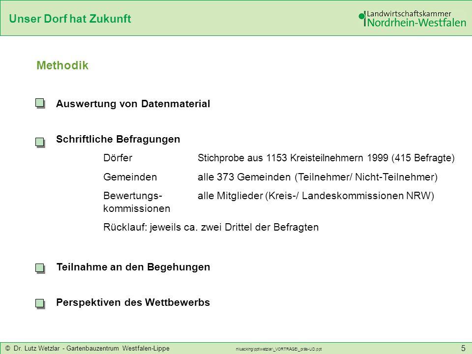 Unser Dorf hat Zukunft © Dr. Lutz Wetzlar - Gartenbauzentrum Westfalen-Lippe n\luecking\ppt\wetzlar\_VORTRÄGE\_präs-UD.ppt 5 Methodik Auswertung von D