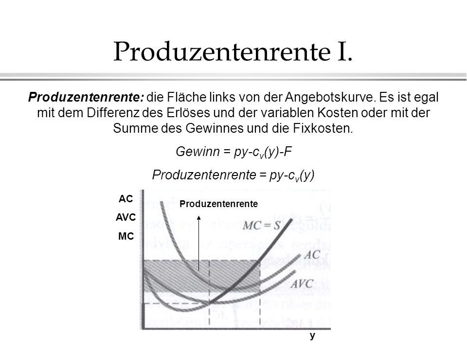 Produzentenrente I. Produzentenrente: die Fläche links von der Angebotskurve. Es ist egal mit dem Differenz des Erlöses und der variablen Kosten oder