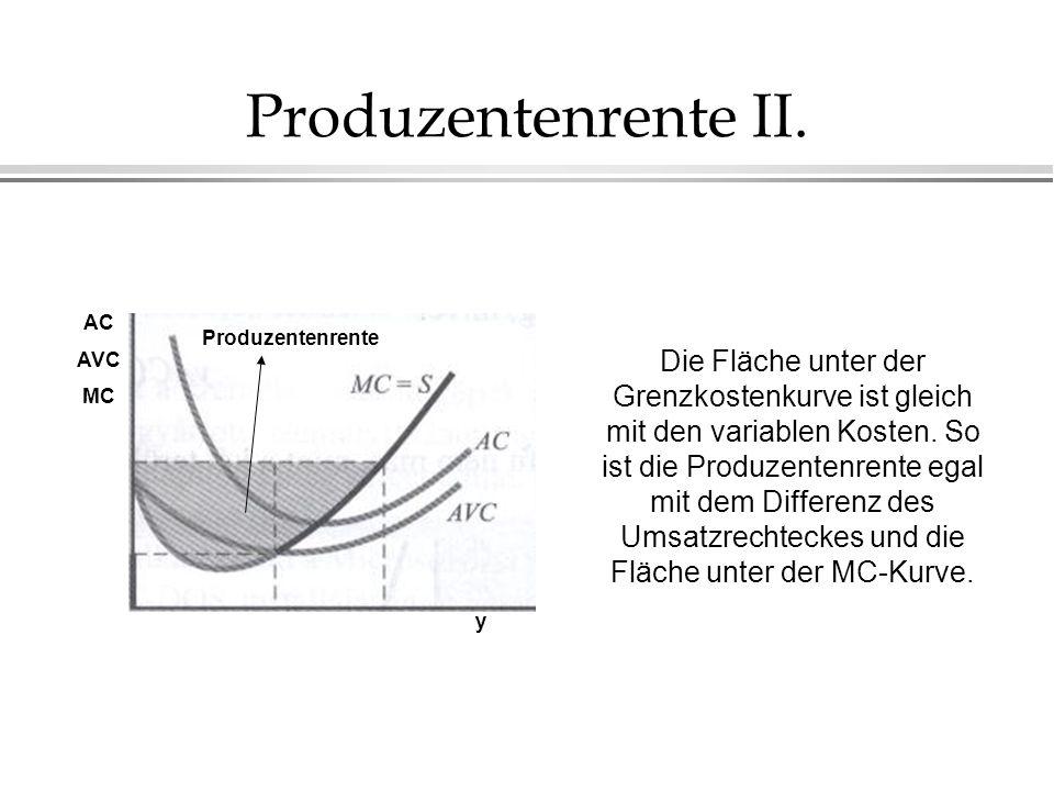 Produzentenrente II. Produzentenrente AC AVC MC y Die Fläche unter der Grenzkostenkurve ist gleich mit den variablen Kosten. So ist die Produzentenren