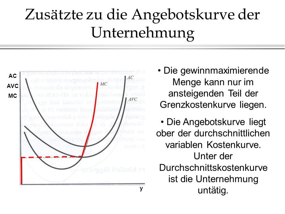 Zusätzte zu die Angebotskurve der Unternehmung Die gewinnmaximierende Menge kann nur im ansteigenden Teil der Grenzkostenkurve liegen. Die Angebotskur