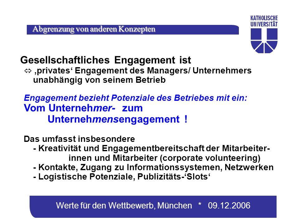 Werte für den Wettbewerb, München * 09.12.2006 Gesellschaftliches Engagement ist privates Engagement des Managers/ Unternehmers unabhängig von seinem Betrieb Engagement bezieht Potenziale des Betriebes mit ein: Vom Unternehmer- zum Unternehmensengagement .