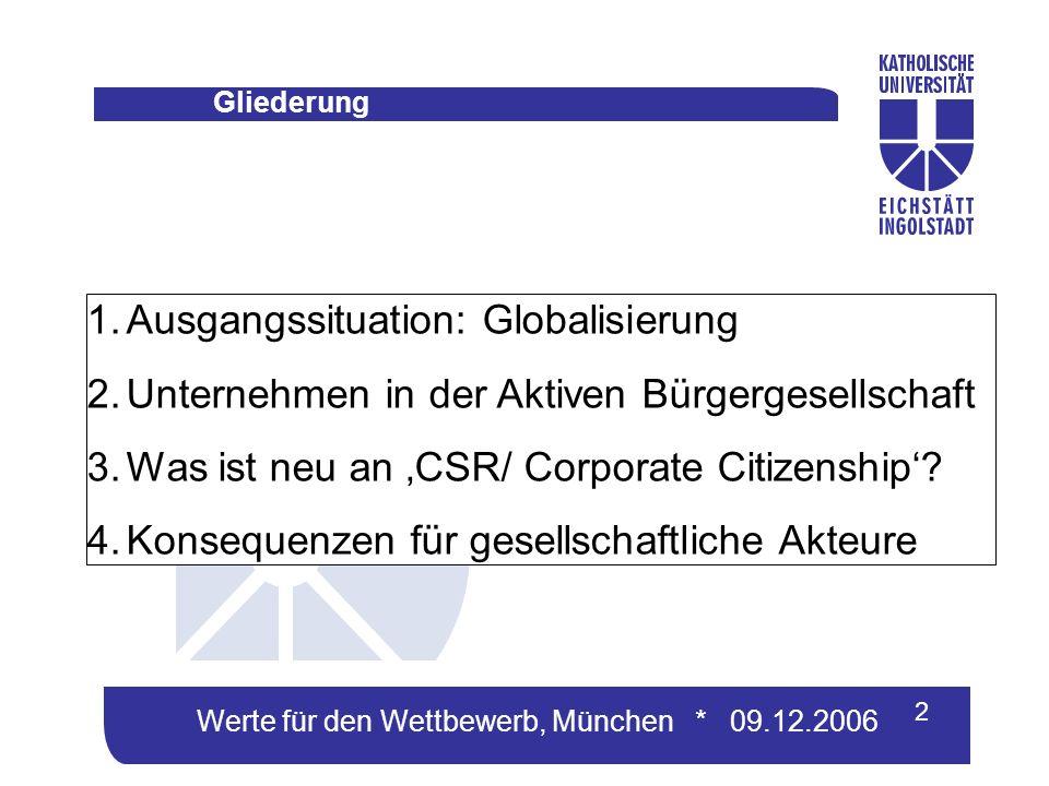 Werte für den Wettbewerb, München * 09.12.2006 1.Ausgangssituation: Globalisierung 2.Unternehmen in der Aktiven Bürgergesellschaft 3.Was ist neu an CSR/ Corporate Citizenship.