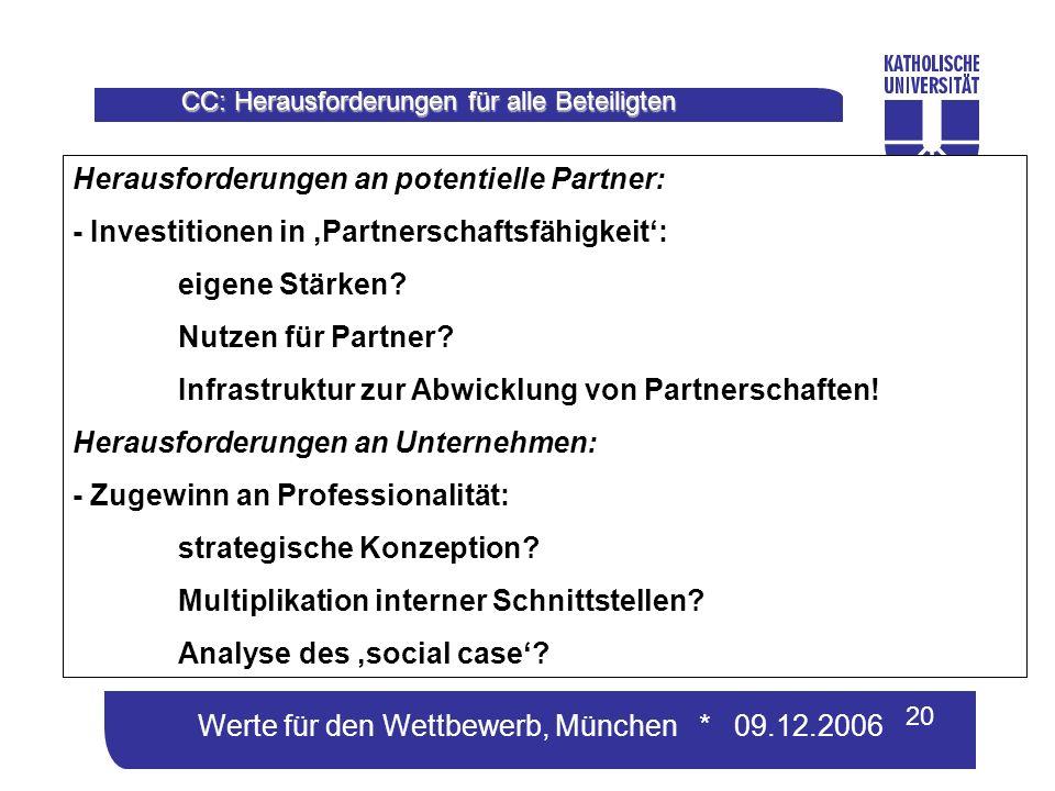 Werte für den Wettbewerb, München * 09.12.2006 20 CC: Herausforderungen für alle Beteiligten Herausforderungen an potentielle Partner: - Investitionen in Partnerschaftsfähigkeit: eigene Stärken.
