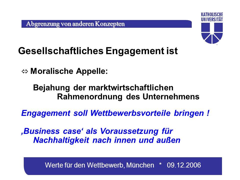 Werte für den Wettbewerb, München * 09.12.2006 Gesellschaftliches Engagement ist Moralische Appelle: Bejahung der marktwirtschaftlichen Rahmenordnung des Unternehmens Engagement soll Wettbewerbsvorteile bringen .