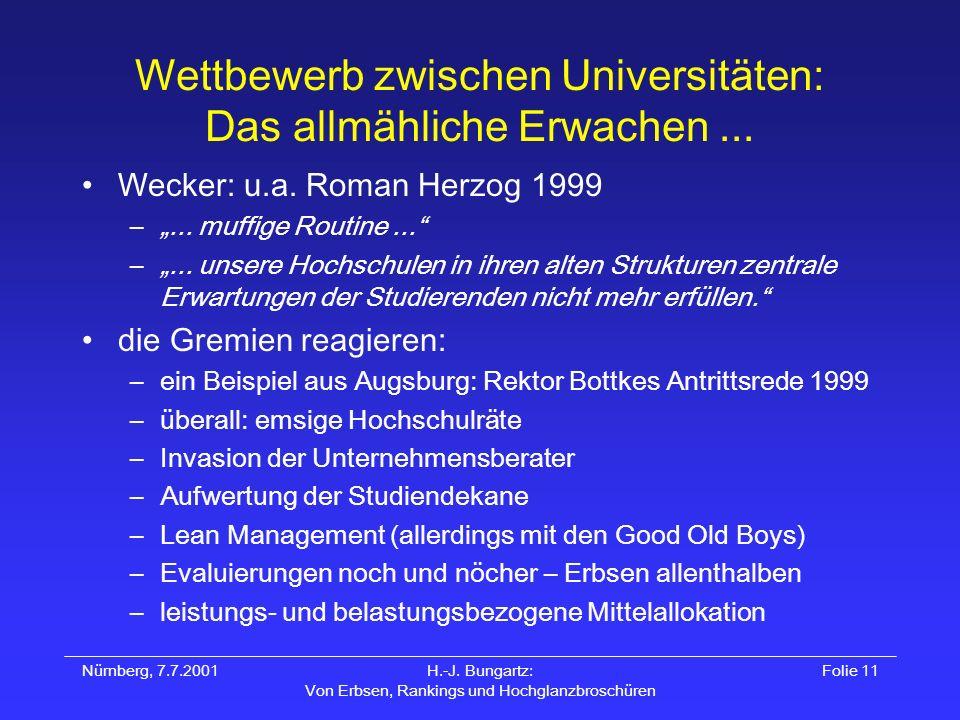 Nürnberg, 7.7.2001H.-J. Bungartz: Von Erbsen, Rankings und Hochglanzbroschüren Folie 11 Wettbewerb zwischen Universitäten: Das allmähliche Erwachen...