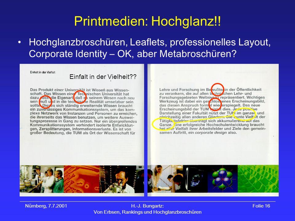 Nürnberg, 7.7.2001H.-J. Bungartz: Von Erbsen, Rankings und Hochglanzbroschüren Folie 16 Printmedien: Hochglanz!! Hochglanzbroschüren, Leaflets, profes