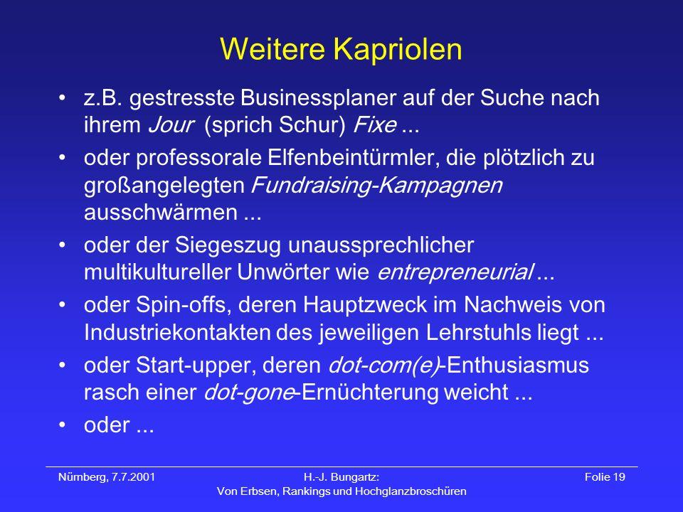 Nürnberg, 7.7.2001H.-J. Bungartz: Von Erbsen, Rankings und Hochglanzbroschüren Folie 19 Weitere Kapriolen z.B. gestresste Businessplaner auf der Suche