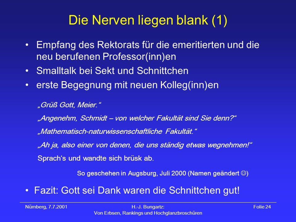 Nürnberg, 7.7.2001H.-J. Bungartz: Von Erbsen, Rankings und Hochglanzbroschüren Folie 24 Die Nerven liegen blank (1) Empfang des Rektorats für die emer