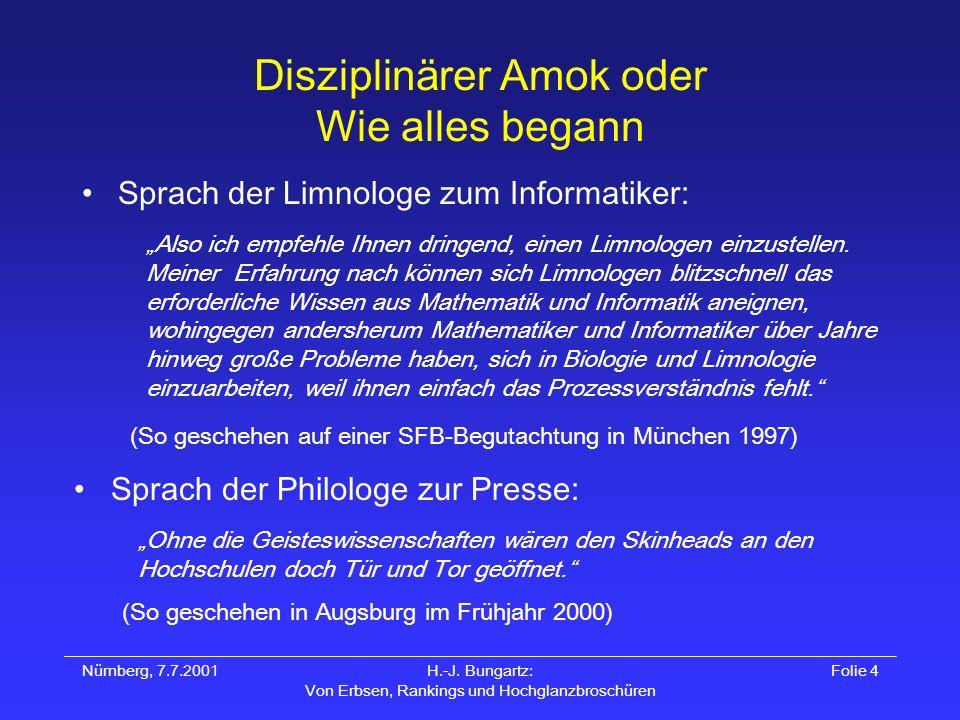 Nürnberg, 7.7.2001H.-J. Bungartz: Von Erbsen, Rankings und Hochglanzbroschüren Folie 4 Disziplinärer Amok oder Wie alles begann Sprach der Limnologe z