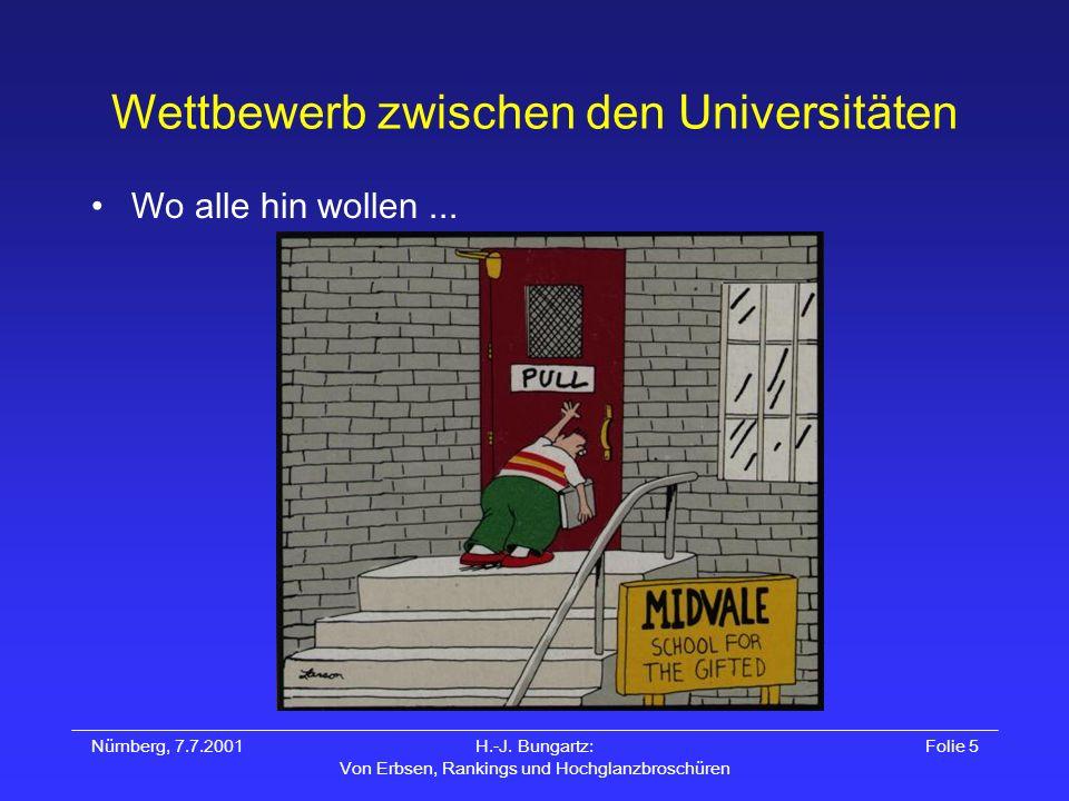 Nürnberg, 7.7.2001H.-J. Bungartz: Von Erbsen, Rankings und Hochglanzbroschüren Folie 5 Wettbewerb zwischen den Universitäten Wo alle hin wollen...