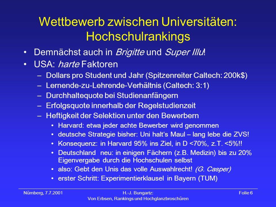 Nürnberg, 7.7.2001H.-J. Bungartz: Von Erbsen, Rankings und Hochglanzbroschüren Folie 6 Wettbewerb zwischen Universitäten: Hochschulrankings Demnächst