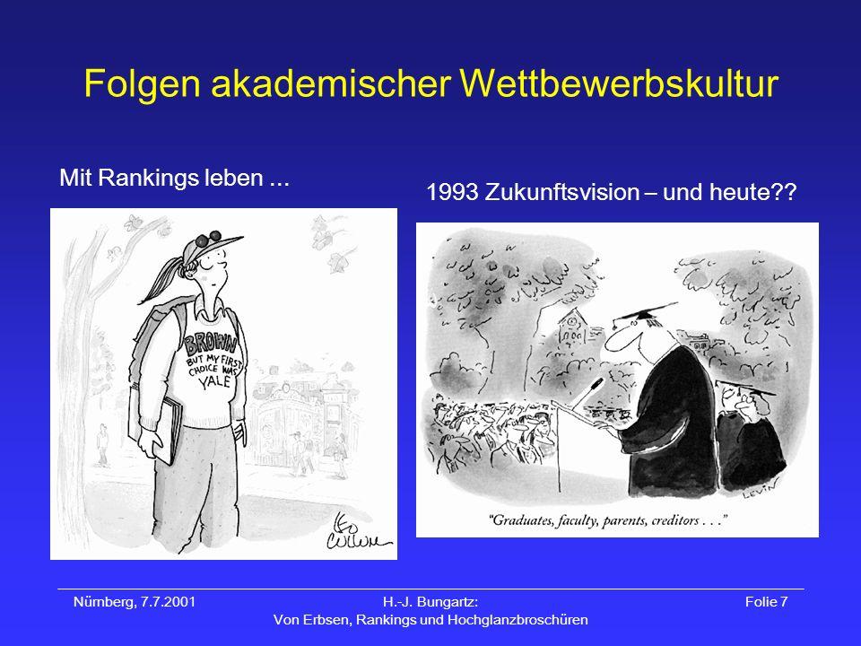 Nürnberg, 7.7.2001H.-J. Bungartz: Von Erbsen, Rankings und Hochglanzbroschüren Folie 7 Folgen akademischer Wettbewerbskultur Mit Rankings leben... 199