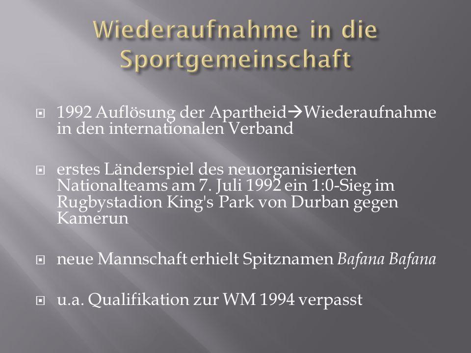 1992 Auflösung der Apartheid Wiederaufnahme in den internationalen Verband erstes Länderspiel des neuorganisierten Nationalteams am 7.