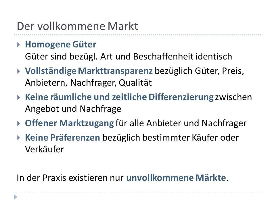 Der vollkommene Markt Homogene Güter Güter sind bezügl. Art und Beschaffenheit identisch Vollständige Markttransparenz bezüglich Güter, Preis, Anbiete