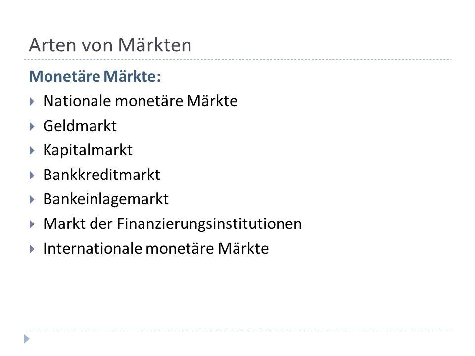 Arten von Märkten Monetäre Märkte: Nationale monetäre Märkte Geldmarkt Kapitalmarkt Bankkreditmarkt Bankeinlagemarkt Markt der Finanzierungsinstitutio