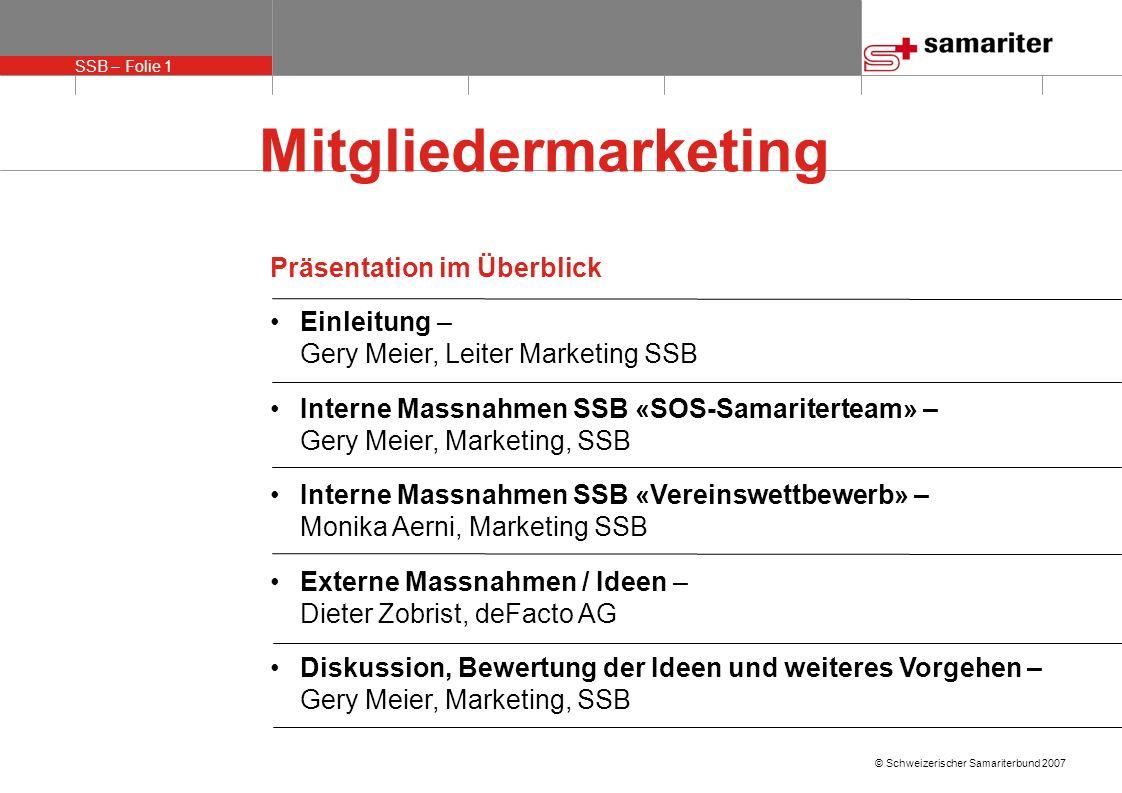 SSB – Folie 1 © Schweizerischer Samariterbund 2007 Mitgliedermarketing Präsentation im Überblick Einleitung – Gery Meier, Leiter Marketing SSB Interne