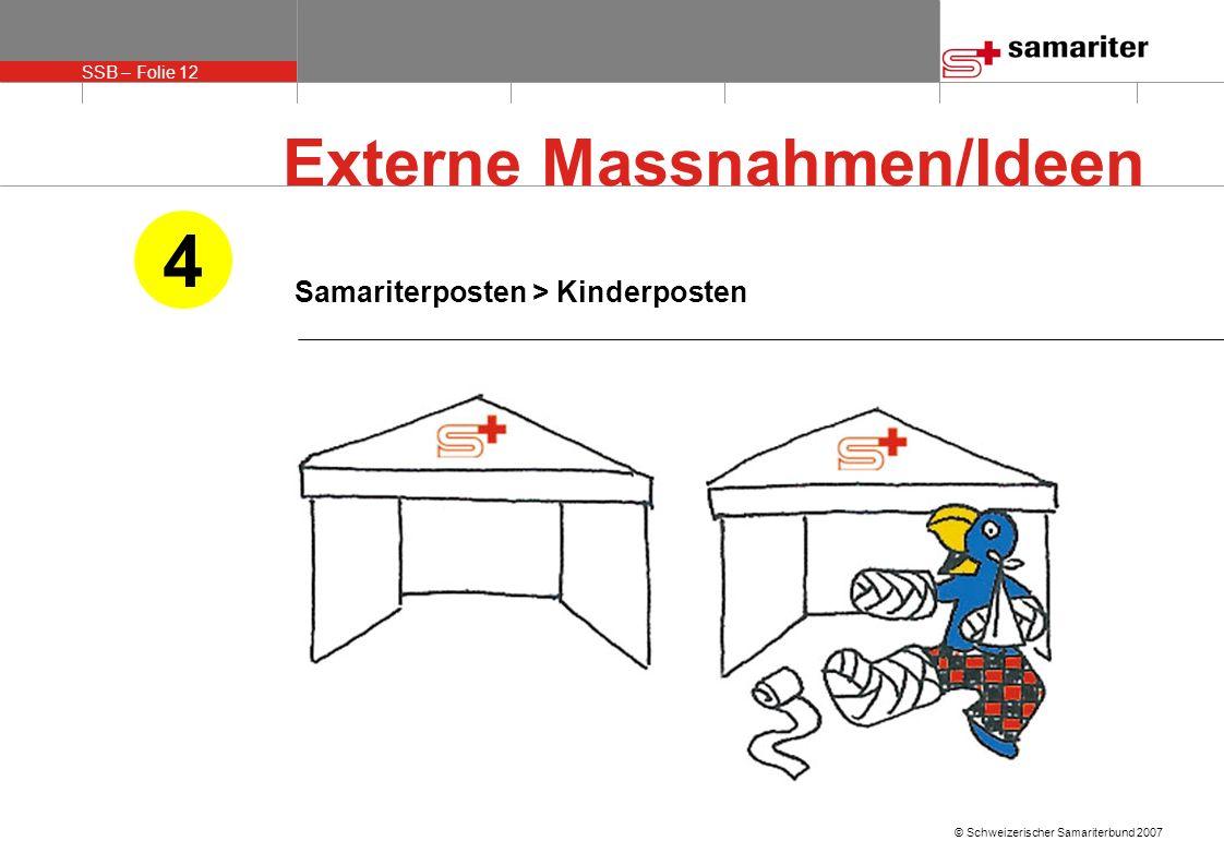 SSB – Folie 12 © Schweizerischer Samariterbund 2007 Samariterposten > Kinderposten 4 Externe Massnahmen/Ideen