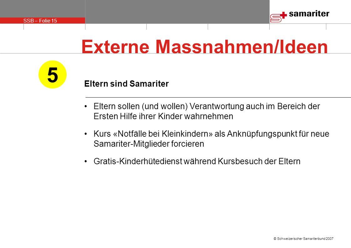 SSB – Folie 15 © Schweizerischer Samariterbund 2007 Eltern sind Samariter Eltern sollen (und wollen) Verantwortung auch im Bereich der Ersten Hilfe ih