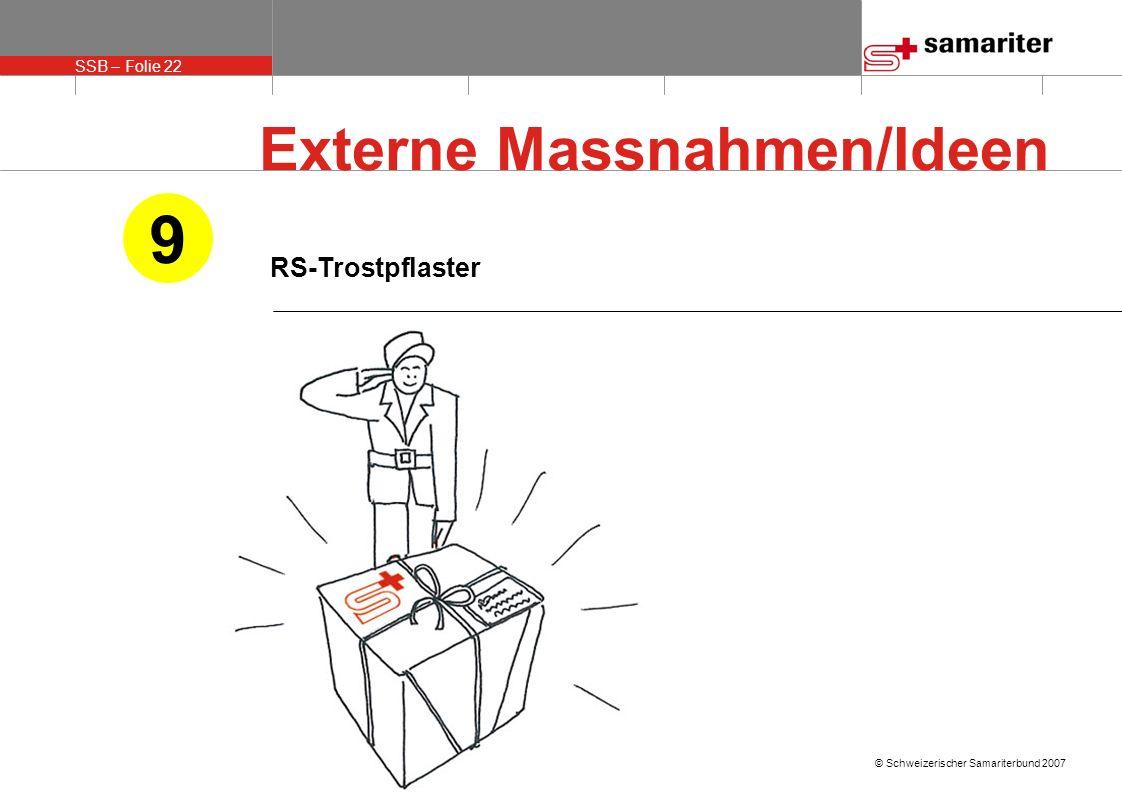 SSB – Folie 22 © Schweizerischer Samariterbund 2007 RS-Trostpflaster 9 Externe Massnahmen/Ideen