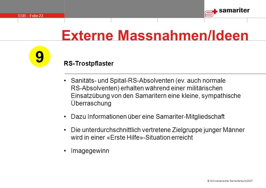 SSB – Folie 23 © Schweizerischer Samariterbund 2007 RS-Trostpflaster Sanitäts- und Spital-RS-Absolventen (ev. auch normale RS-Absolventen) erhalten wä