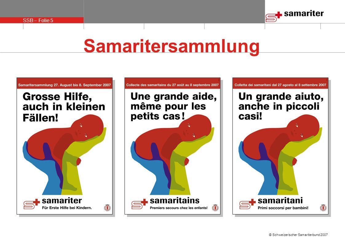 SSB – Folie 6 © Schweizerischer Samariterbund 2007 Interne Massnahmen SSB «SOS-Samariterteam» SOS-Gruppe für Vereinsmarketing-Support 1