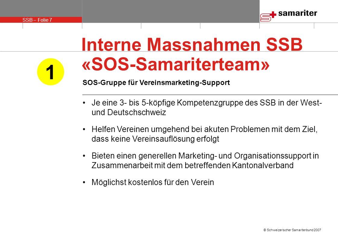 SSB – Folie 7 © Schweizerischer Samariterbund 2007 SOS-Gruppe für Vereinsmarketing-Support Je eine 3- bis 5-köpfige Kompetenzgruppe des SSB in der Wes
