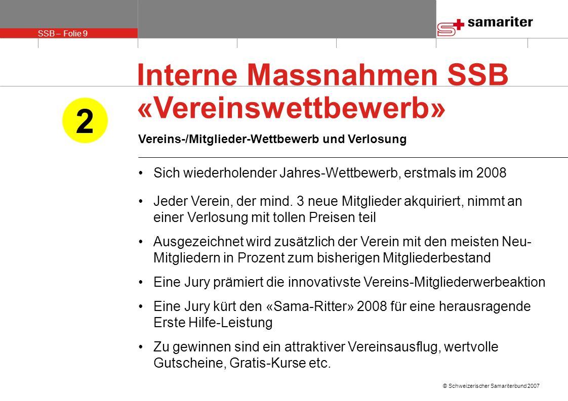 SSB – Folie 9 © Schweizerischer Samariterbund 2007 Interne Massnahmen SSB «Vereinswettbewerb» Vereins-/Mitglieder-Wettbewerb und Verlosung Sich wieder