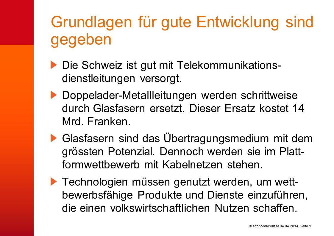 © economiesuisse Grundlagen für gute Entwicklung sind gegeben Die Schweiz ist gut mit Telekommunikations- dienstleitungen versorgt.