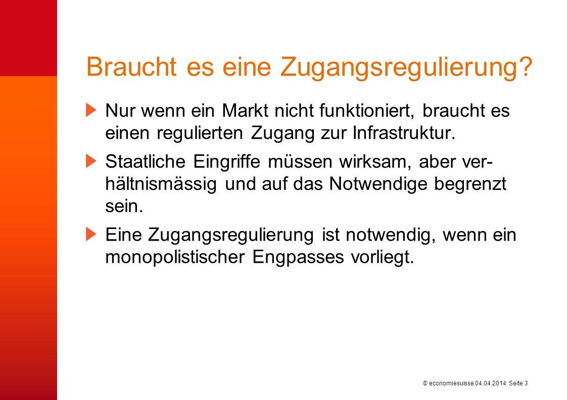 © economiesuisse Braucht es eine Zugangsregulierung.