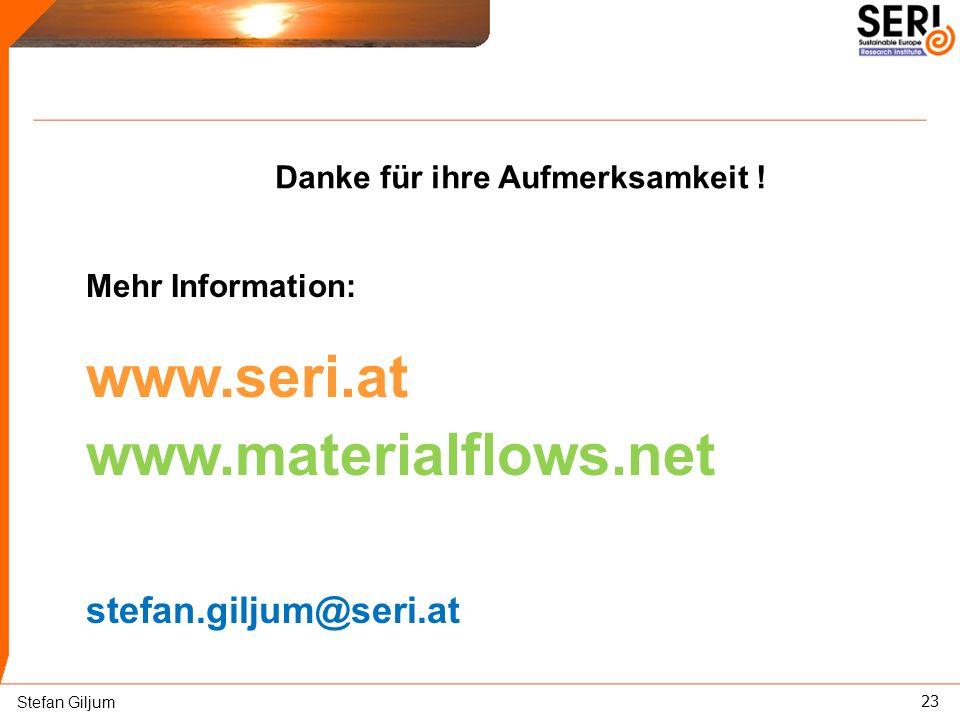 23 Danke für ihre Aufmerksamkeit ! Mehr Information: www.seri.at www.materialflows.net stefan.giljum@seri.at Stefan Giljum
