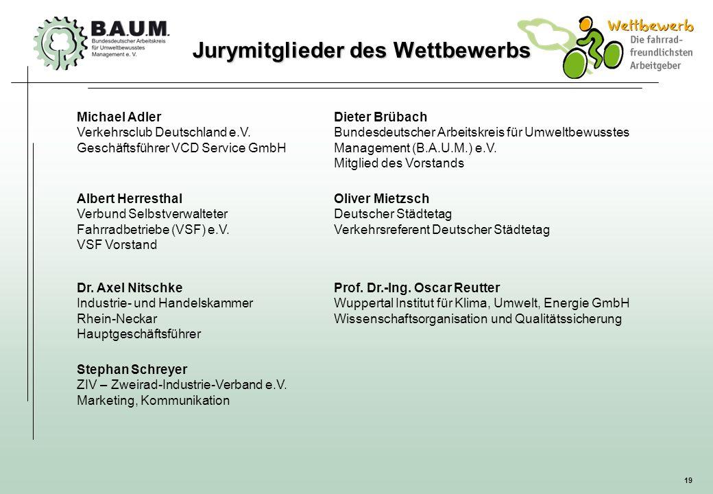 19 Jurymitglieder des Wettbewerbs Michael Adler Verkehrsclub Deutschland e.V. Geschäftsführer VCD Service GmbH Dieter Brübach Bundesdeutscher Arbeitsk