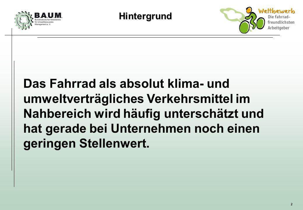 2 Hintergrund Hintergrund Das Fahrrad als absolut klima- und umweltverträgliches Verkehrsmittel im Nahbereich wird häufig unterschätzt und hat gerade