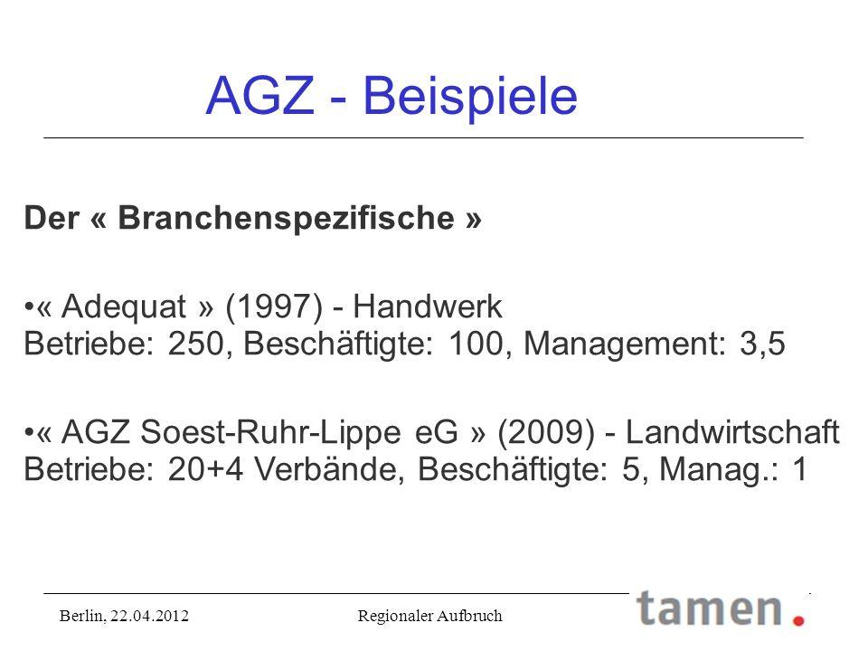 AGZ - Beispiele Der « Branchenspezifische » « Adequat » (1997) - Handwerk Betriebe: 250, Beschäftigte: 100, Management: 3,5 « AGZ Soest-Ruhr-Lippe eG