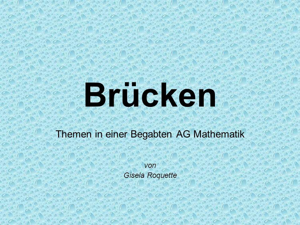 Brücken in der Mathematik Brücken aus Papier Das Backsteinproblem Die Kettenlinie Die Leonardo-Brücke Das Königsberger Brückenproblem