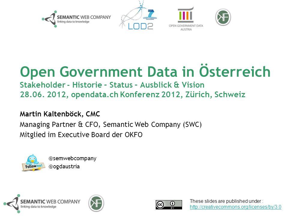 Open Government Data in Österreich Stakeholder - Historie – Status – Ausblick & Vision 28.06.