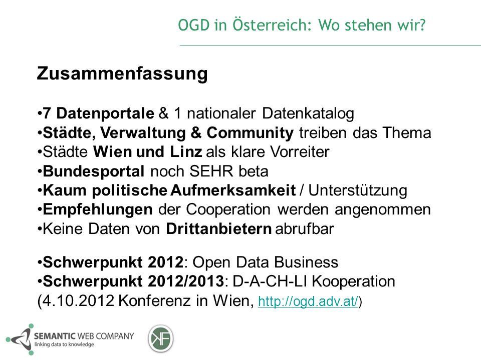 Zusammenfassung 7 Datenportale & 1 nationaler Datenkatalog Städte, Verwaltung & Community treiben das Thema Städte Wien und Linz als klare Vorreiter B