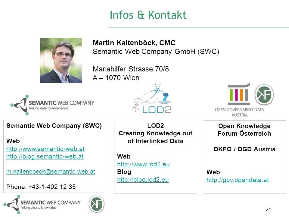 Infos & Kontakt 21 Martin Kaltenböck, CMC Semantic Web Company GmbH (SWC) Mariahilfer Strasse 70/8 A – 1070 Wien Semantic Web Company (SWC) Web http:/