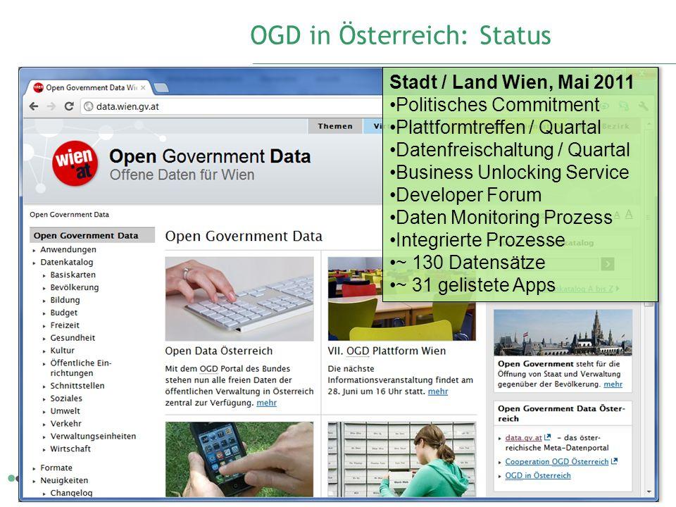 OGD in Österreich: Status 5 Stadt / Land Wien, Mai 2011 Politisches Commitment Plattformtreffen / Quartal Datenfreischaltung / Quartal Business Unlock