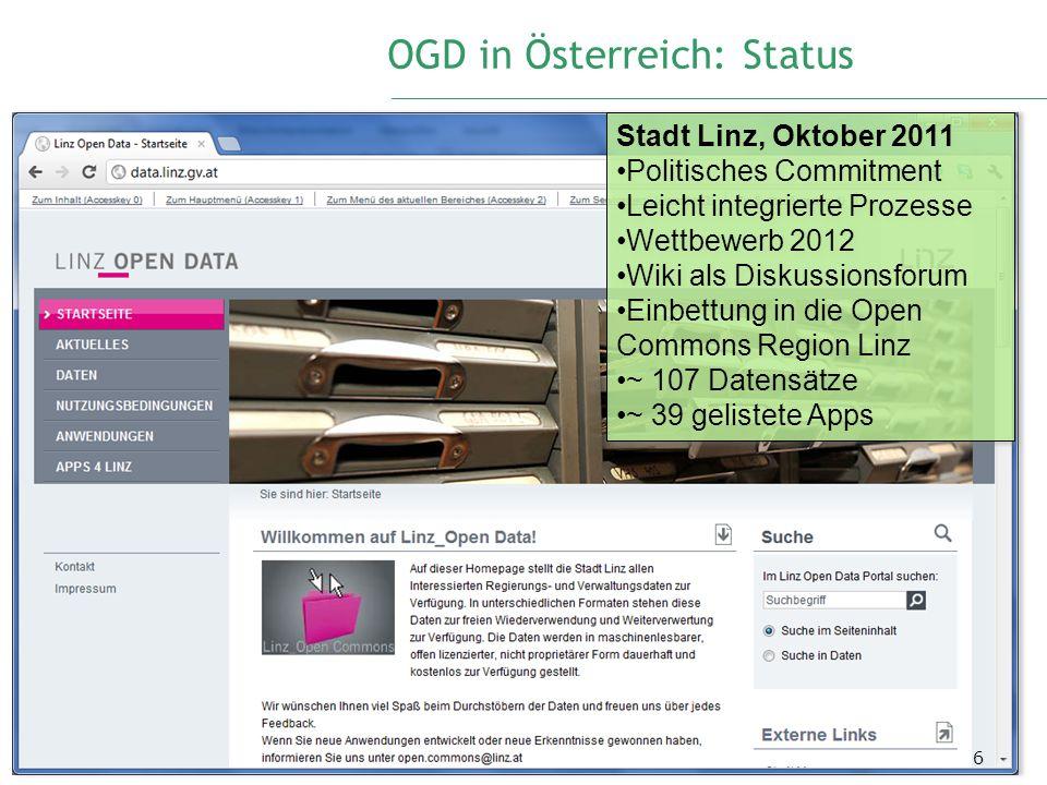 OGD in Österreich: Status 6 Stadt Linz, Oktober 2011 Politisches Commitment Leicht integrierte Prozesse Wettbewerb 2012 Wiki als Diskussionsforum Einb