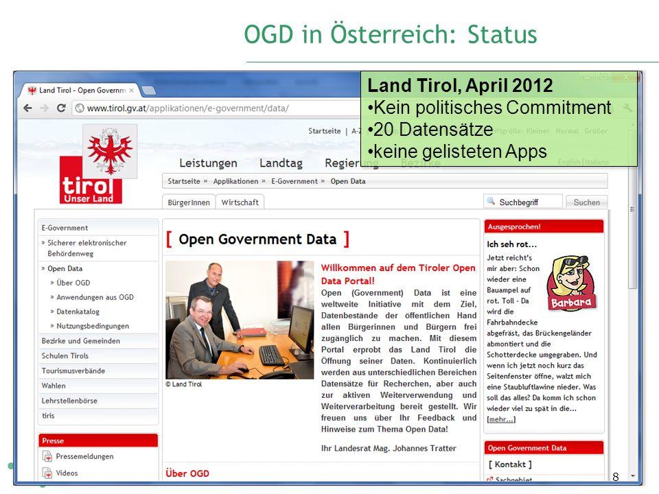 OGD in Österreich: Status 8 Land Tirol, April 2012 Kein politisches Commitment 20 Datensätze keine gelisteten Apps Land Tirol, April 2012 Kein politisches Commitment 20 Datensätze keine gelisteten Apps