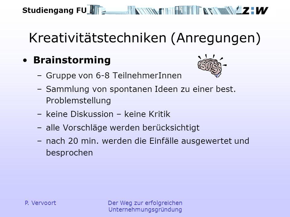 Studiengang FU P. VervoortDer Weg zur erfolgreichen Unternehmungsgründung Kreativitätstechniken (Anregungen) Brainstorming –Gruppe von 6-8 TeilnehmerI