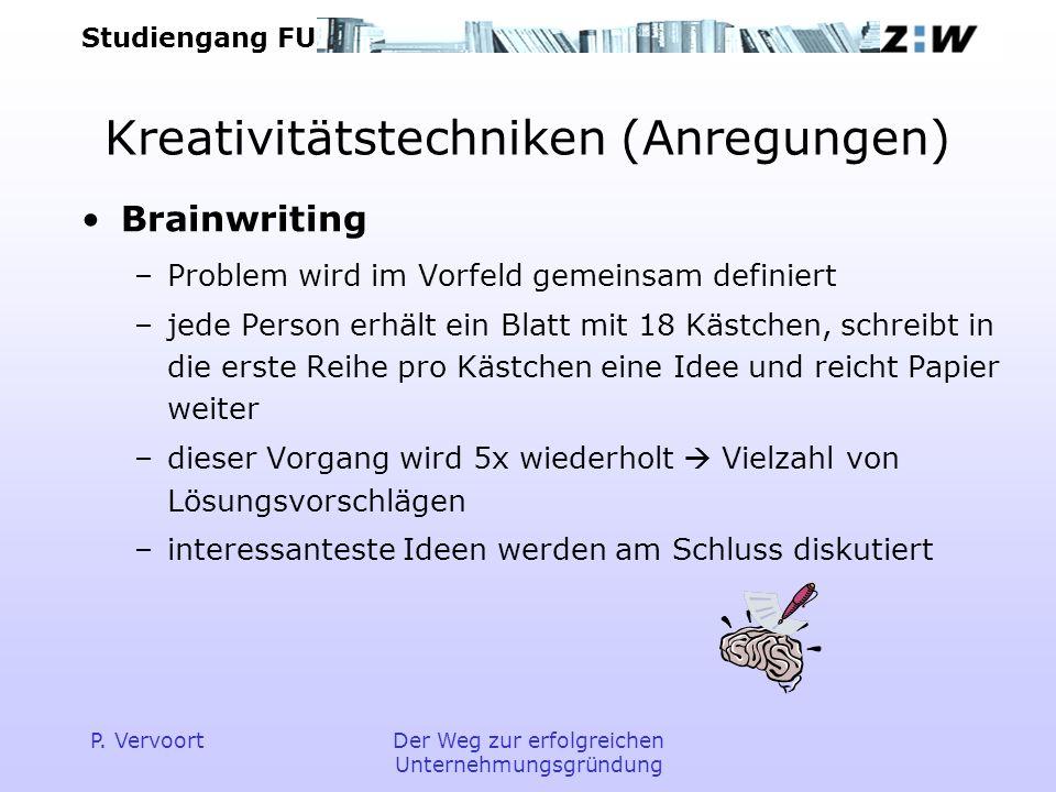 Studiengang FU P. VervoortDer Weg zur erfolgreichen Unternehmungsgründung Kreativitätstechniken (Anregungen) Brainwriting –Problem wird im Vorfeld gem